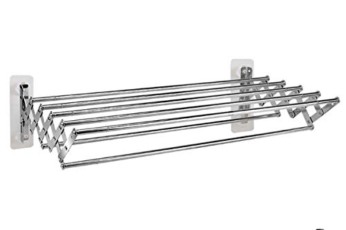 GXFWJD Toallero Extensible Plegable De Longitud Soporte De Toalla De Baño Montado En La Pared Soporte De Almacenamiento De Double Toallero Extensible (Color : Silver, Size : 42-80cm)