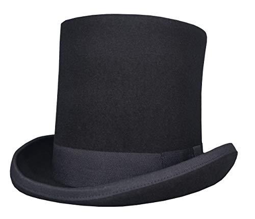 Licus Herren 100% Wolle Zylinder Hut Erwachsenenhut Hohe Hut Damen Magic Partyhüte (Medium Kopfumfang 56cm-58cm)