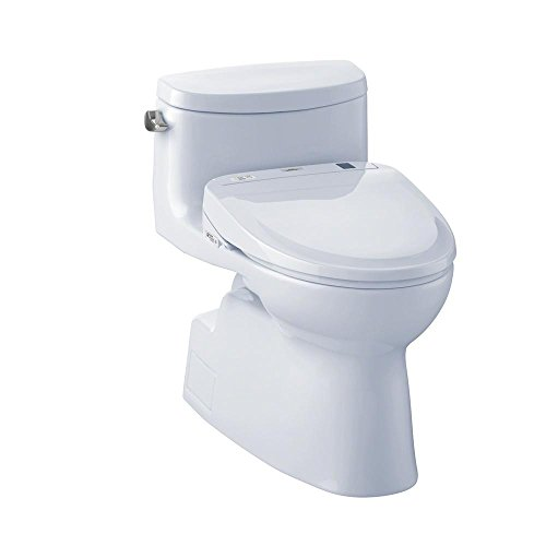 TOTO MW644584CEFG#01 WASHLET+ Carolina II One-Piece Elongated 1.28 GPF Toilet and WASHLET S350e Bidet Seat, Cotton White