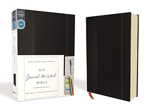 NIV, Journal the Word Bible, Hardcover, Black, Red Letter, Comfort Print: Reflect, Take Notes, or Create Art Next to Your Favorite Verses
