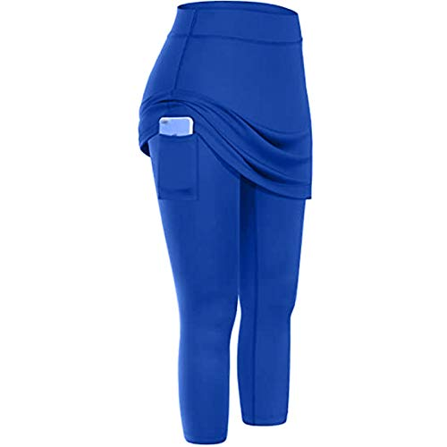 NAQUSHA Leggings de tenis con falda para mujer con bolsillos elásticos para yoga
