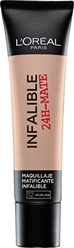 L'Oréal Paris 24H Mate, Base Maquillaje Matificante Larga Duración, Tono de Piel Claro 12 Naturel Rosé - 35 ml