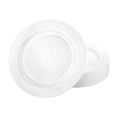 Lillian Tablesettings Plastic Plates-10.25' Magnificence | Pack of 10 Plates, 10.25 inch, White Pearl