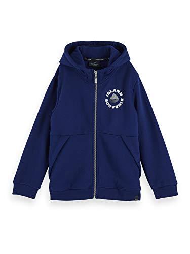 Scotch & Soda Shrunk Boys Zip Through Hoody with Chest Artwork Hooded Sweatshirt, Yinmin Blue 2139, 10