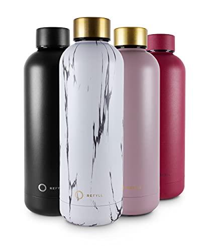 REFYLL Trinkflasche Edelstahl wonderFYLL - 500ml Thermosflasche - auslaufsicher, BPA frei - isolierte Wasserflasche, doppelwandige Isolierflasche (Marble, 500 ml)
