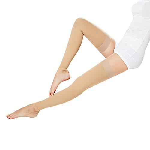 Oberschenkel Kompressionsstrümpfe, Footless Kompressionsschläuche, Medizinische Klasse Kompression Socken, Abgestufte Stützstrümpfe Silikonband,Skin Ankle,L