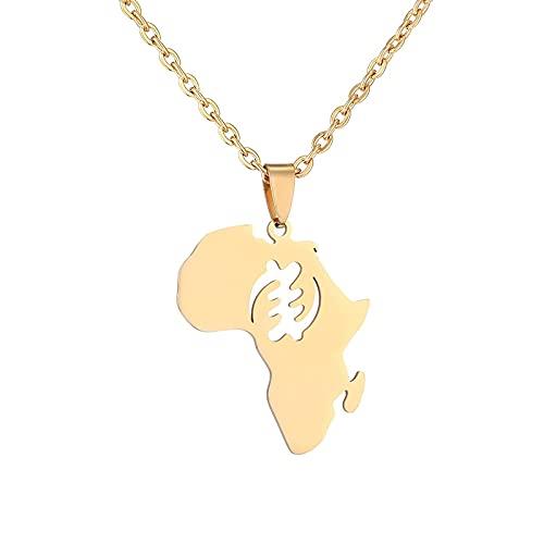 Kkoqmw Hiphop Estilo étnico África Mapa símbolos Collares Pendientes Acero Inoxidable Color Dorado para Mujeres Hombres mapas africanos Regalo de joyería