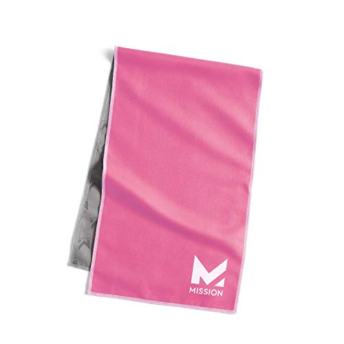 """Mission Original Cooling Towel- Evaporative Cool Technology, Cools Instantly When Wet, UPF 50 Sun Protection, for Sports, Yoga, Golf, Gym, Neck, Workout, 10"""" x 33"""" (Pink)"""