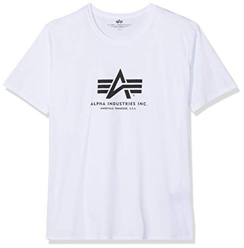 ALPHA INDUSTRIES Basic T-Shirt, Blanc (White), Small (Taille Fabricant: S) Homme
