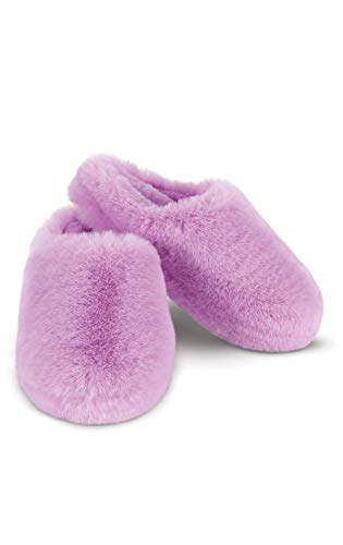 PajamaGram Fuzzy Slippers Women - Fluffy Slippers for Women, Lavender, LG