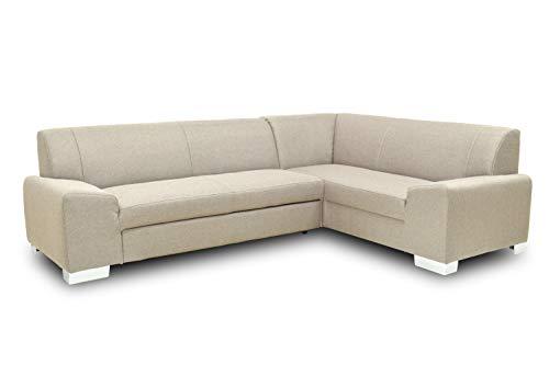 Preisvergleich Produktbild Domo Collection Alisson Ecksofa / L-Form / Größe: 181 cm x 249 cm x 75 cm (BxTxH) / Webstoff in grau / Eckcouch mit Schlaffunktion