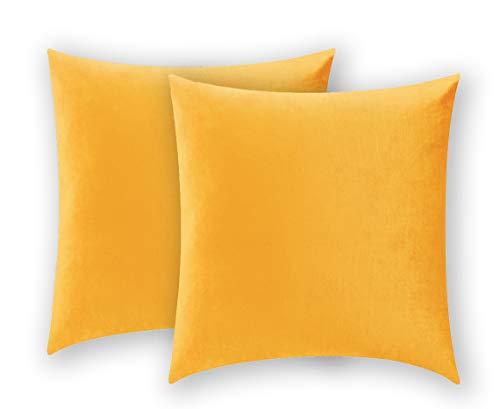 COMFORTLAND 2er Set Samt Soft Solid Dekorative Quadrat Wurf Kissenbezüge Set Kissen Fall für Sofa Schlafzimmer, 40x40cm, Orange Gelb