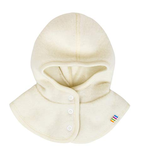 Joha Baby Kinder Unisex Schalmütze aufknöpfbar Balaclava Merino-Wolle, Größe:52, Farbe:Natur