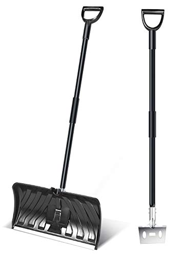 Ohuhu 2-in-1 Snow Shovel & Ice Scraper, 55-INCH Collapsible Multipurpose Snow Pusher Shovel, New Efficient Snow Remover