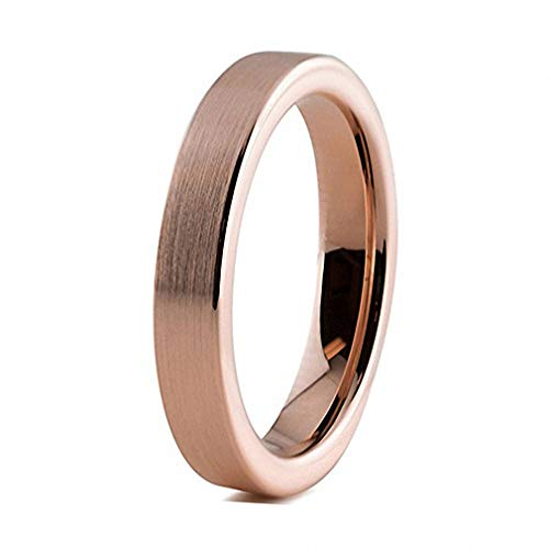 N-A 4 mm Rose Gold Womens Tungsten Rings Wedding Band for Women Pip Cut Simple Style Matte Finish/Polished Shiny Comfort Fit Rose Gold Brushed 5.5
