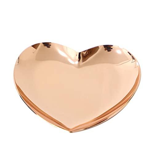 CJFael Bandeja decorativa, bandeja de joyería en forma de corazón, borde liso, acero inoxidable, bandeja de exhibición de joyas para el hogar, oro rosa