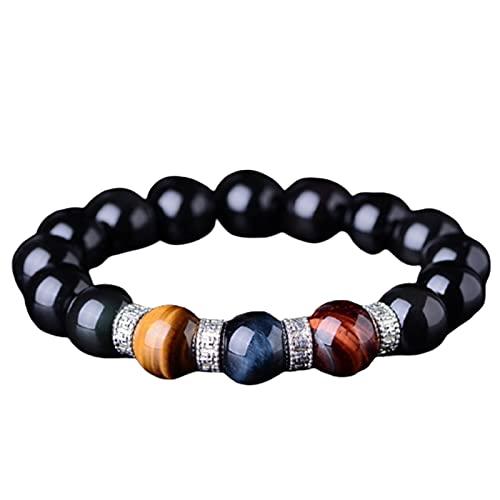Aoten Pulsera obsidiana de 3 colores para cuple, 8/10/12/14/16/18 mm, redonda, elástica, para regalo de cumpleaños