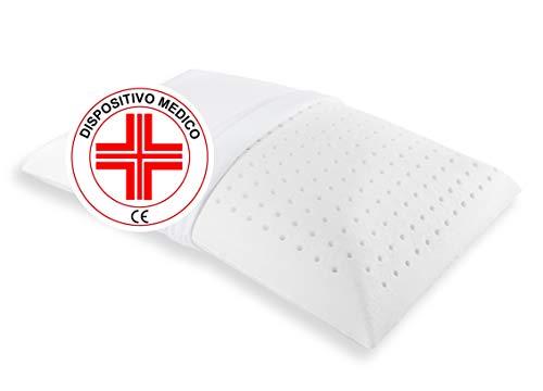 Cuscino Letto Basso 100% Memory Foam Altezza 10cm, Ideale per Bambino e Adulto. Dispositivo Medico Foratura SuperTraspirante, Guanciale Basso Ortopedico Contro Dolore Collo e cervicale