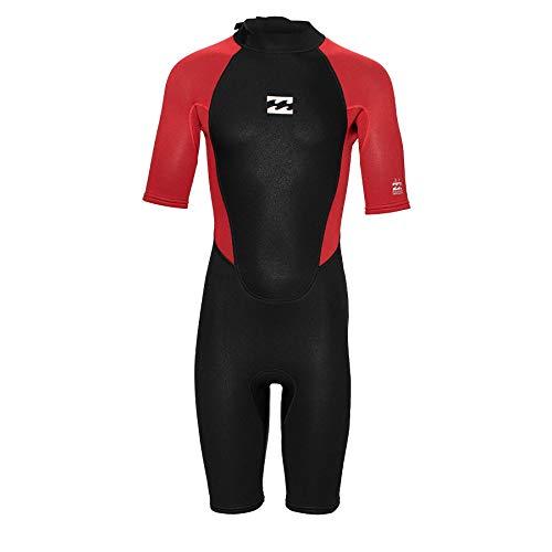 Billabong Junior Boys Intruder 2mm Back Zip Shorty Wetsuit - Red - Short Sleeves