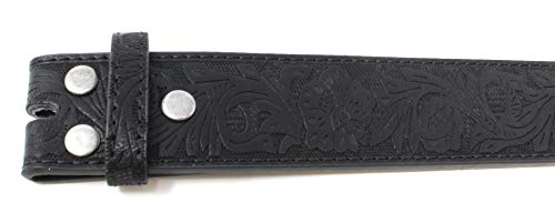 Womens Leather Belt Strap with Embossed Western Flowers Pattern 4
