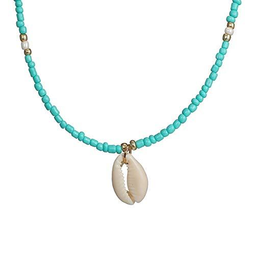 SHIYONG Collar con Colgante de Gargantilla de Concha de Diamantes de imitación Verde Mujer, joyería de Cuentas Encantadora, Trajes de Playa, Collares
