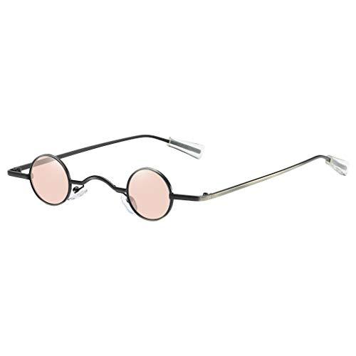 Lazzboy Sonnenbrille Runde Polarisierte Schutz Form Mann Frauen Hip Hop Brillen Shades Vintage Retro(Rosa)