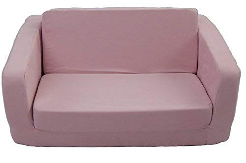 Fun Furnishings 55230 Toddler Flip Sofa in Micro Suede Fabric, Pink