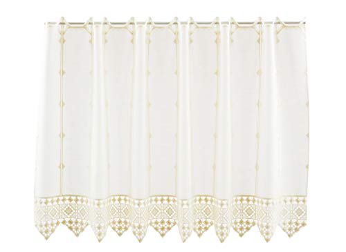Cortina de media altura conclusión de ganchillo altura 55 cm | Ancho de la cortina seleccionable por la cantidad comprada en pasos de 16 cm | Color: crema | Cortinas cocina