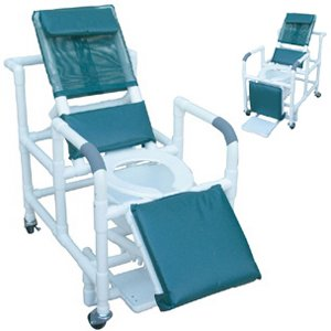 Reclining shower chair w/deluxe elongated open front commode seat, footrest, padded elevated leg e