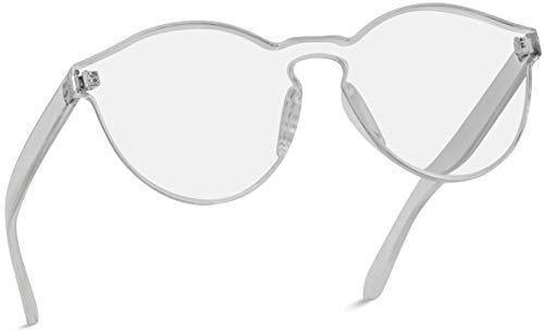 WearMe Pro - Colorful Transparent Round Super Retro Sunglasses (Clear Frame, 58)
