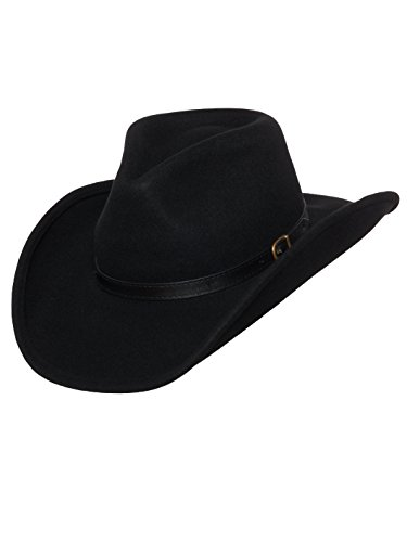 Men's Outback Wool Cowboy Hat Dakota Black Shapeable Western Felt by Silver Canyon, Black, X-Large