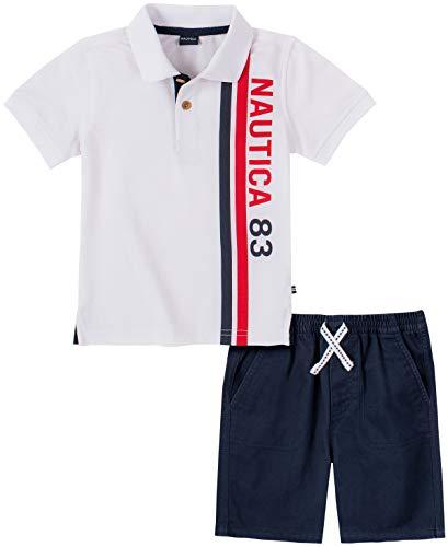 Nautica Sets (KHQ) Boys' Polo Shorts Set, White/Navy, 3-6 Months