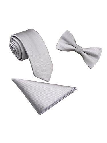 WANYING Herren Classic 6 * 12cm Fliege & 6cm Schmale Krawatte & 22 * 22 cm Einstecktuch 3 in 1 Sets - Einfarbig Hellgrau