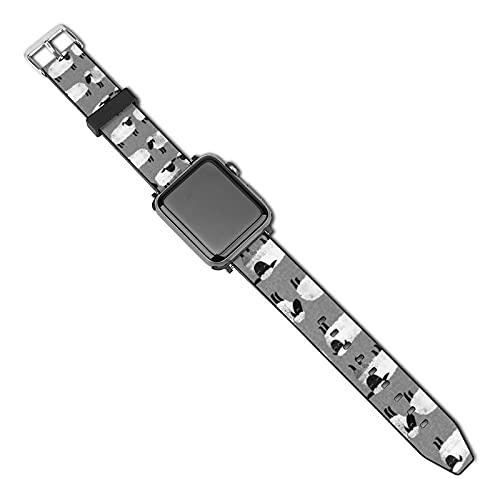 La última correa de reloj de estilo compatible con Apple Watch Band 38 mm 40 mm Correa de repuesto para iWatch Series 5/4/3/2/1, ovejas niños gris género neutro animales de granja