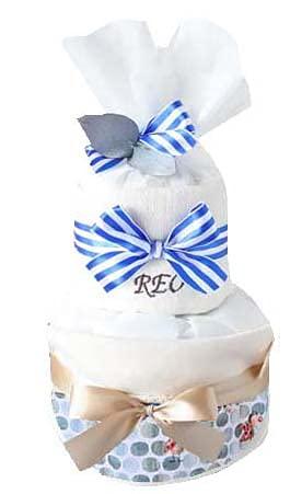 ribon 出産祝い おむつケーキ 今治 タオル 名入れ おしゃれ GOTS認証 北欧 オーガニック   (M, てんとう虫柄)