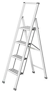 WENKO Escalera plegable en diseño de aluminio 4 peldaños, blanca, Haushaltsleiter, Aluminio recubierto, 44 x 153 x 5.5 cm, Blanco