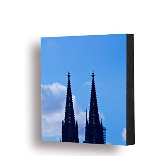 Köln Bild - Domspitzen (bunt) 14x14cm, MDF, Geschenk, Deko, Dom, Kölngeschenk, Holz, Cologne, Kunst