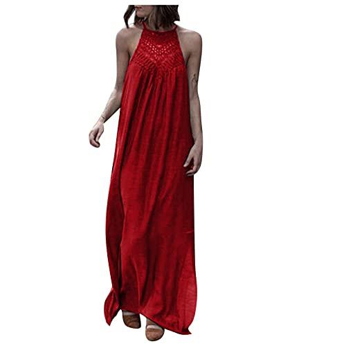 TYTUOO Vestido de verano elegante sin mangas de color sólido sin mangas con hombros descubiertos, cuello halter vestido largo