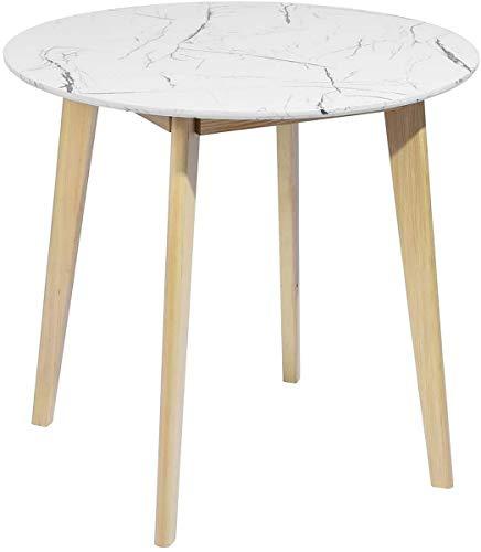 Esstisch Rund Wohnzimmertisch skandinavisch, 2 bis 4 Personen, moderner Küchentisch, mit Füßen aus Holz, Kiefer, weiß, 80 x 80 x 75 cm, Currency Marble Round Top80 A