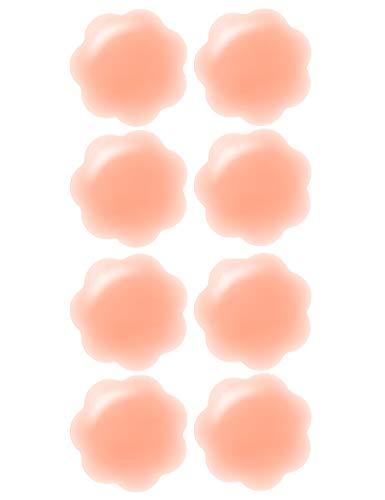 Arctic Penguin Nippel Abdeckungen Wiederverwendbar Nipple Cover Silikon Wasserfest Hautfarben für Frauen Gel Nippelpads Sexy Selbstklebend Nippelabdeckung Bikini Brustwarzenabdeckung (Blütenblatt-4)