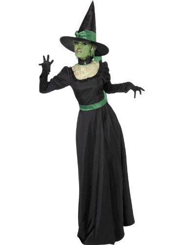 Smiffys Costume sorcière, Noir, avec robe et chapeau
