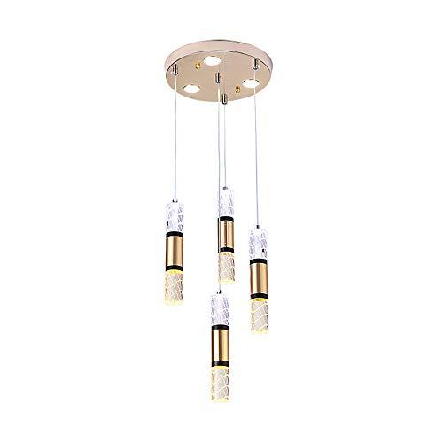 Lámpara de techo de 49 W, 3000 K, luz cálida, 7 focos, moderna, creatividad, lámpara de mesa de comedor, lámpara de acrílico para colgar