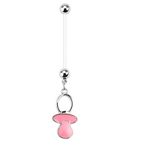 Paula & Fritz® Bioflex Bauchnabelpiercing für Schwangere aus Edelstahl Chirurgenstahl 316L mit Anhänger Schnuller Pink
