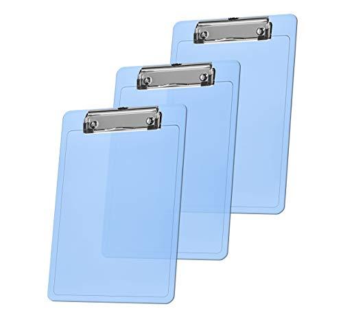 """Acrimet Clipboard Memo Size A5 (9 1/4"""" x 6 5/16"""") Low Profile Clip (Plastic) (Clear Blue Color) (3 Pack)"""