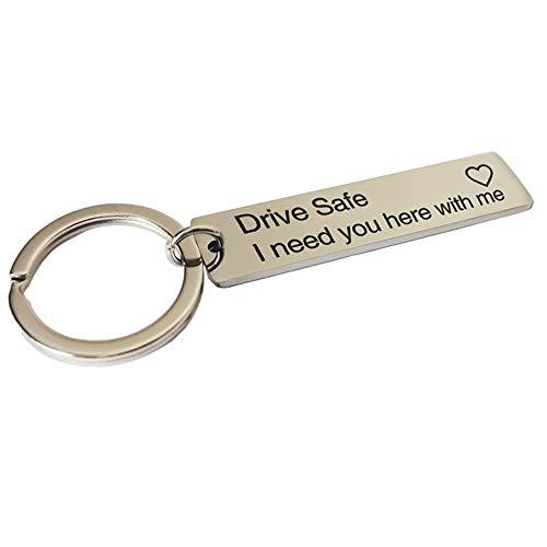 """LWBTOSEE Schlüsselanhänger mit Gravur\""""Drive Safe I Need You Here With Me\"""", für Paare, Freund, Freundin, Schmuck, Schlüsselanhänger"""