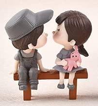 Sweety Couple Chair Garden Figurines Miniatures Fairy 3pcs Set Grey Colour