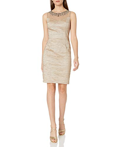 Eliza J Women's Illusion Bodice Sheath Dress and Beaded Necklace, Taupe, 6