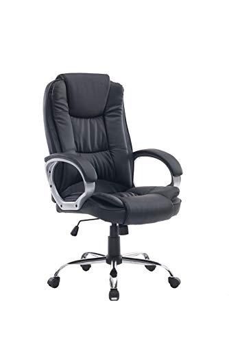 HOGAR24 ES Silla sillon de Oficina Estudio Alta Gama tapizado en Piel sintetica, Color Negro.