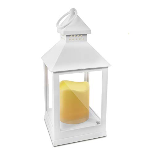 Lanterna a LED Eaxus® con candela realistica - lanterna/lanterna da giardino per interni ed esterni, bianco