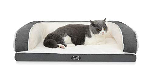 Pecute Orthopedic Pet Sofa Bed (M 76 * 46 * 18 cm), Egg Crate Memory Foam Cat Couch Bed with Three Side Bolster for Good Support, Removable Washable Cover, Non Slip Base for Small Medium Dogs & Cats